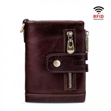 Мужской кожаный бумажник с защитой от RFID